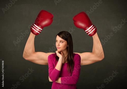 Poster Strong and muscled boxer arms