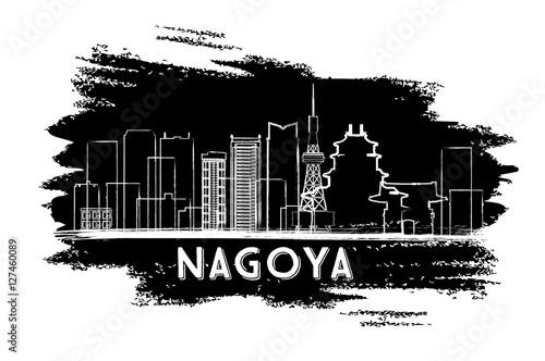 Nagoya Skyline Silhouette. Hand Drawn Sketch.