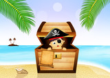 baby pirate in treasure chest on the beach