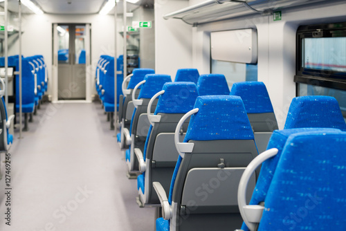 Zdjęcia Interior high-speed electric train in Moscow, Russia