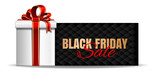 Black Friday Sale banner design. Gift box with red ribbon and bow on the black background of a greeting card. Vector illustration
