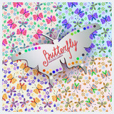 Four Seamless vector  pattern with  butterfly and flowers.