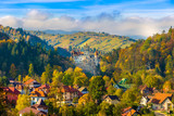 Fototapety Panoramic view over Dracula medieval Castle Bran in autumn season, the most visited tourist attraction of  Brasov, Transylvania, Romania