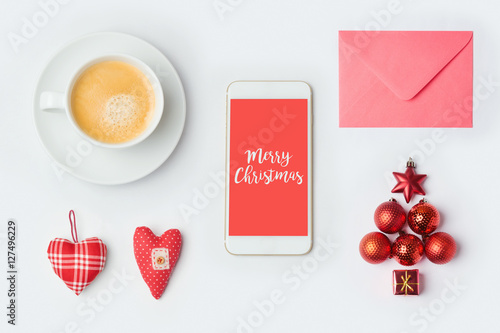 Smartphone with Christmas decorations and coffee cup Poster