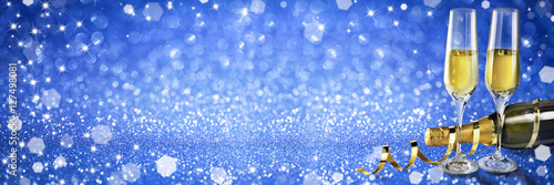 new year toast champagne banner blue background