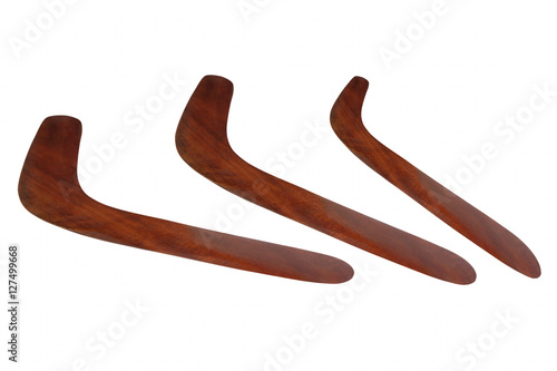 Poster Set of wooden Australian Boomerang isolated on white.
