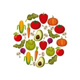 vegetables and fruits in circle shape over white background. vector illustration