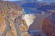 View from the Mike O'Callaghan-Pat Tillman Memorial Bridge of the famous Hoover Dam near Las Vegas,, Nevada