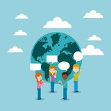 cartoon people standing with speech bubble over earth planet icon and sky backgorund. vector illustration