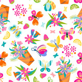 Seamless childrens background with butterfly and flowers