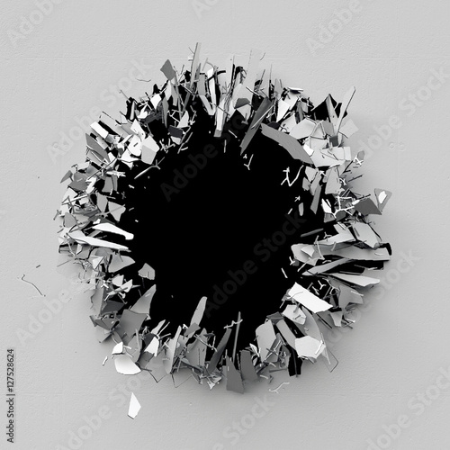 3d render, 3d illustration, explosion, cracked concrete wall, bullet