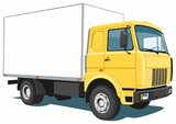 Vector isolated yellow commercial, delivery truck on white background.