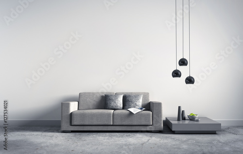 Sofa vor hellgrauer Wand