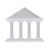 silhouette with greek temple parthenon vector illustration