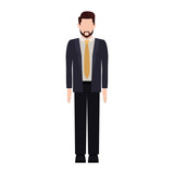silhouette man with formal suit and necktie vector illustration