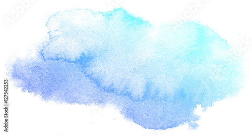Abstract blue watercolor on white background.This is watercolor splash.It is drawn by hand. - 127542253