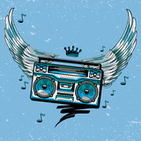 Winged boom box graffiti