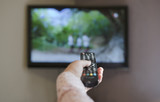TV and hand hold remote control.