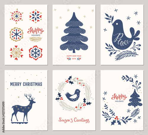 Merry Christmas And Happy Holidays Card Templates With New Year Tree