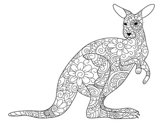 kangaroo Coloring book vector for adults