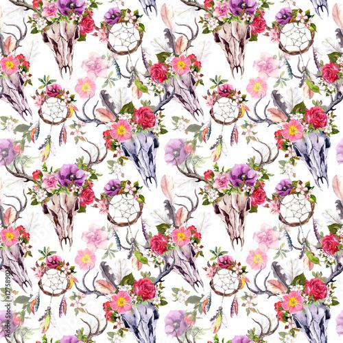 Deer skulls, flowers, dream catchers - dreamcatcher. Seamless pattern. Watercolor - 127589024