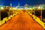 Wooden pier at night in Sopot, Poland.