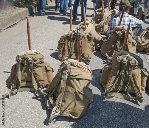 Old backpacks shown during a military Italian national meeting