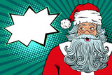 Wow pop art Santa Claus in red costume with surprised face and open mouth looking to the side on speech bubble. Vector illustration in retro pop art comic style. Christmas party invitation poster.