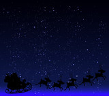 Santa Claus on a background of the starry night sky