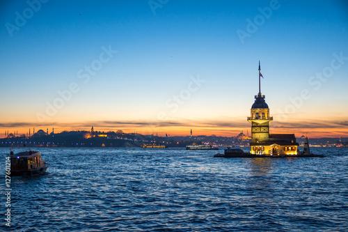 sundown views to istanbul lighthouse and skyline, turkey Poster