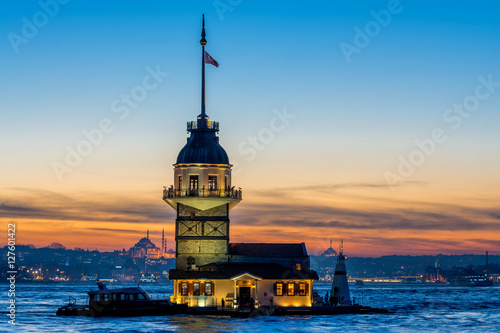sundown views to istanbul lighthouse and skyline, turkey Poster