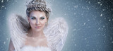 Magic snow queen - winter woman with wings, winter fairy