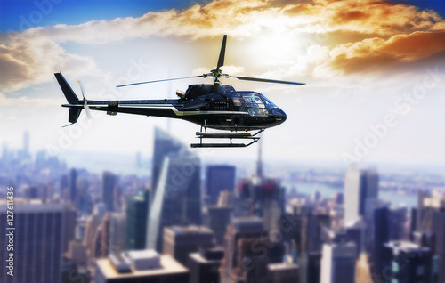Poster Helicopter for sightseeing over Manhattan.