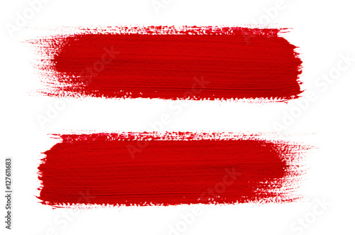 Red brush stroke isolated on grunge background