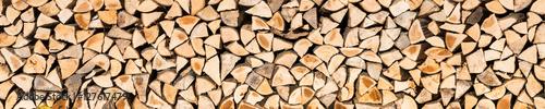 Foto op Aluminium Brandhout textuur Holzscheite als Textur und Panorama Hintergrund