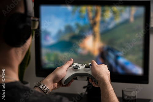 Poster Gaming game play video on tv or monitor. Gamer concept.