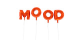 MOOD - word made from red foil balloons - 3D rendered.  Can be used for an online banner ad or a print postcard.
