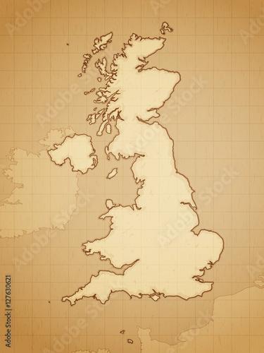 Fototapeta United Kingdom map drawn on aged paper vector illustration.