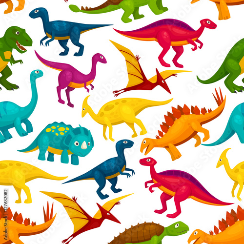 Fotografiet Dinosaur, jurassic animal monster seamless pattern