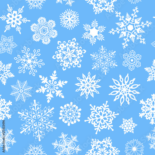 Materiał do szycia Snowflakes seamless pattern for Christmas packaging, textiles, wallpaper vector illustration.