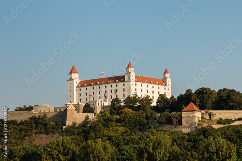 Poster Bratislava Castle with blue sky and copy space