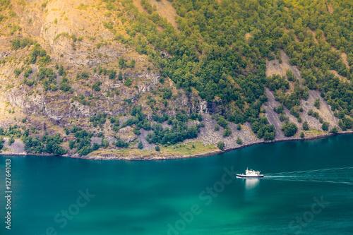 Poster Cruise ship on norwegian fjord