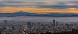 Fototapeta Portland Oregon Cityscape and Mount Hood at Sunrise