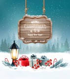 Holiday Christmas background with gift boxes and wooden sign. Ve