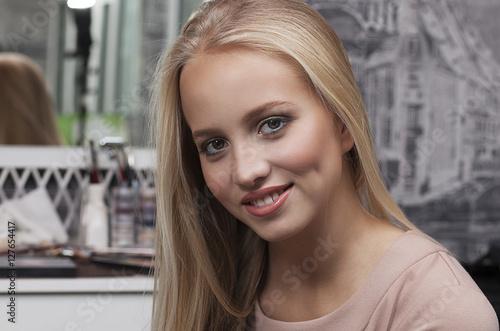 Poster beautiful blonde girl,  makeup
