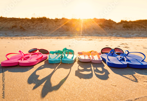 Colorful sandals at the beach Poster