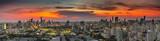 Panorama of bangkok cityscape at twilight time