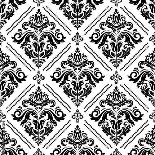 Damask vector classic black and white pattern. Seamless abstract background with repeating elements - 127661208