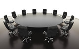 boardroom, meeting room and conference table and chairs. Business concept. Isolate 3d rendering.