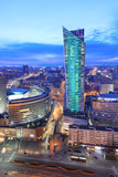 Fototapety Night view of Warsaw modern business district from viewpoint of Culture and science palace